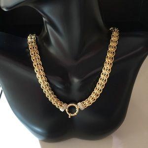 14k YG Spiga Choker Diamond Accent Necklace 17 in